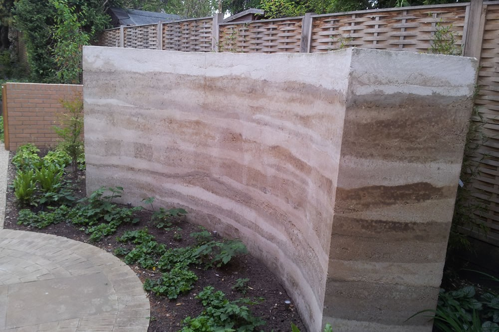 Rammed Earth Walls Outdoor Living Space
